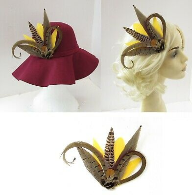 Mustard Yellow Brown Pheasant Feather Hat Pin Brooch or Fascinator Races 7989