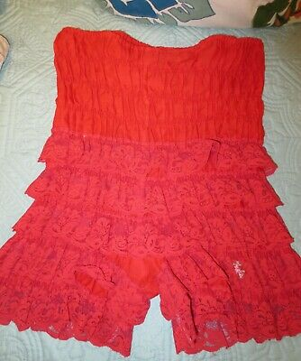 vintage RUTHAD RED rumba bloomers pettipants sissy LACE panties size M