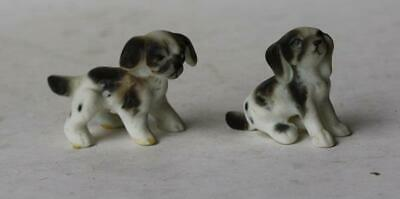 Puppy Dog Figurines Set of 2 Ceramic-Porcelain Hand Painted Miniature Playful
