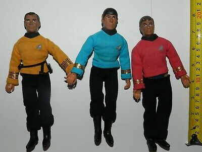 "3 Mego 70's Star Trek 8"" Action Figures. Kirk/ Spock/ Bones"