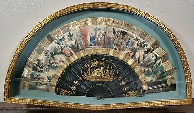ANTIQUE FRENCH EMPIRE HAND PAINTED PAPER FAN EBONIZED w GILT FRAME 19TH C. 1800s
