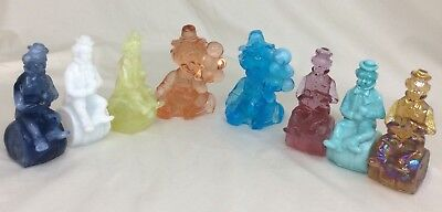 """Mosser Glass Clowns """"The Performer"""" and """"All The World Loves A Clown"""" Lot of 8"""