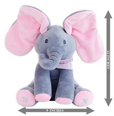 12 inch - Grey and Pink Elephant Stuffed Plush Child Toy