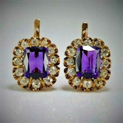 Antique Russian Amethyst and Diamonds Cluster Earrings, Moscow 1908-1917