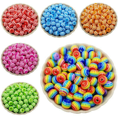 100Pcs/lot 8mm Acrylic Rainbow Beads For DIY Necklace Bracelet Jewelry Finding