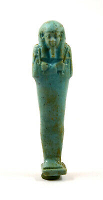 Egypt Late Period to Ptolemaic Period green glazed shabti for Inaros