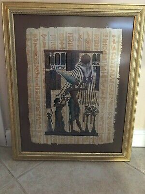 Hand Painted Picture on Papyrus, Egyptian Motif, Signed, Gold Painted Wood Frame