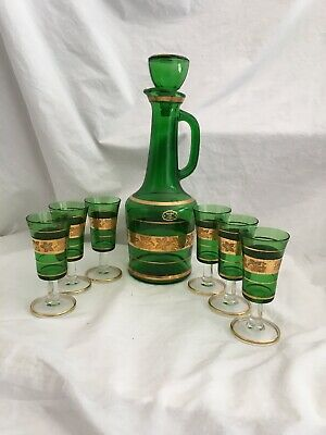 Vintage Italian Glass Emerald Green Gold Decanter And 6 Cordials Set