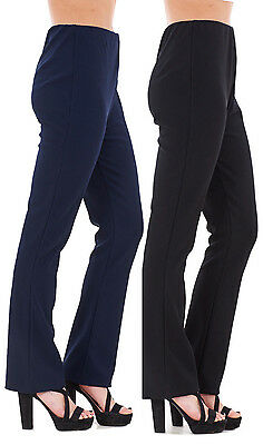 Ladies Womens Stretch Pull On Ribbed Bootleg Pack of 2 Trousers Pants Plus Size
