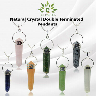 Reiki Healing Crystal Pendant Double Terminated Pendant with chain for Unisex