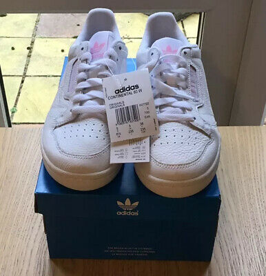 BNIB Adidas Continental 80W Ladies Trainers In White & Pink Accent Various Sizes