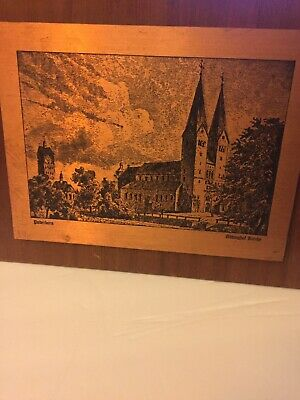 German Etching Copper Engraved Paderborn By Abbinghof Kirche