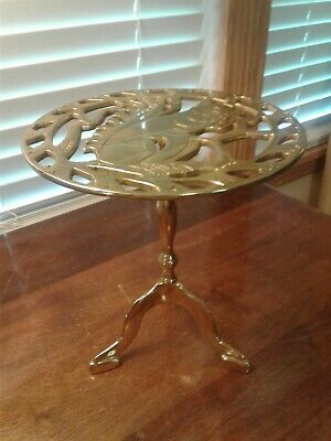 """Rare Vintage Brass Virginia Metalcrafter's """"Squirrel"""" Plant Stand Table Vm-1107"""