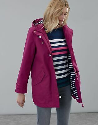 Joules Womens Coast Mid Waterproof Coat in BERRY BLUSH