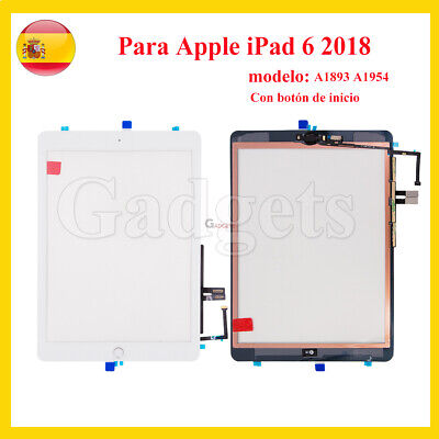 PANTALLA TACTIL PARA APPLE IPAD 6TH A1566 A1567 DIGITALIZADOR BLANCO Con Botón