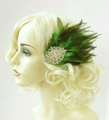 Olive Khaki Green Gold Feather Fascinator Hair Clip Wedding 1920s Races 7992