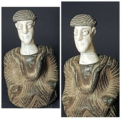 bactrian wonderful old composite chloride stone prince statue