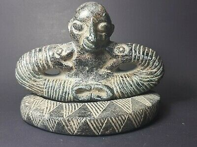 Very old  bactrian  composite  chloride stone royal snake shoulder statue