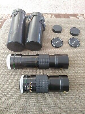 Canon Zoom Lenses FD 100-200mm 1:5.6 and 200mm 1:4 Camera Lens Lot of 2 w cases