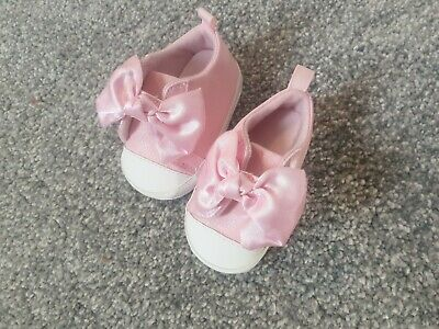 Stunning Baby Girl Pink Trainers pram Shoes 0-3 Satin Bow First Steps ribbon B