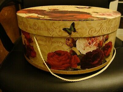 "Floral 14"" diameter 36cm H 6"" 15.5cm Hat box France graphic red rose flowers"