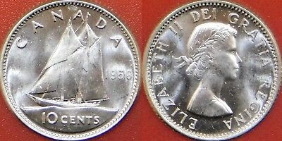 Brilliant Uncirculated 1956 Canada Silver 10 Cents From Mint's Roll
