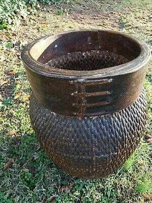 Antique Chinese Willow Fish Fishing Basket Large Woven Storage Basket 14 Inches