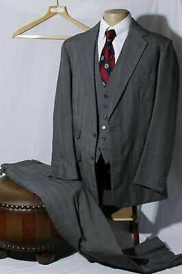 Anderson & Sheppard Savile Row Men's Gray Plaid 3-Piece Suit 42R W36