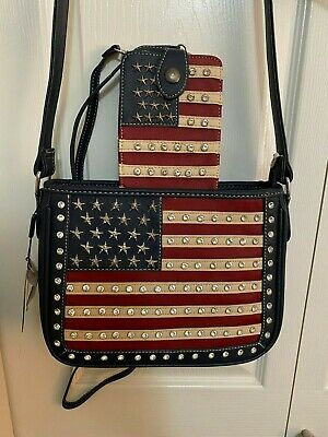 Montana West AMERICAN PRIDE CONCEALED CARRY CROSSBODY BAG with Wallet - NAVY