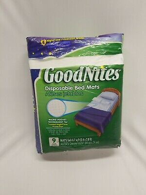 GoodNites Disposable Bed Mats, 9 Count NightTime Protection Super Absorb, opened