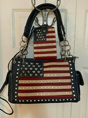 Montana West AMERICAN PRIDE Concealed Carry Handbag with Matching Wallet - NAVY