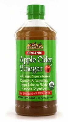 5 Pack Country Farms Apple Cider Vinegar Tonic With Mother 16 Ounces Each