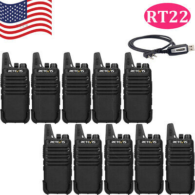 10XWalkie Talkie Retevis RT22 2W CTCSS//DCS UHF 16CH TOT VOX Scan 2-Way Radio+USB