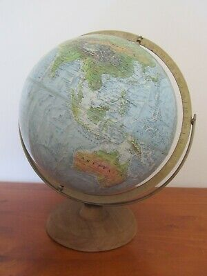 Large Vintage World Map Globe Replogle USA Wooden Base 12 inch