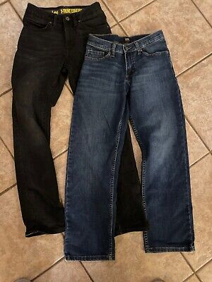 Lee Jeans Boys size 14 Slim Lot of 2 pair blue and black denim EUC w/inside belt