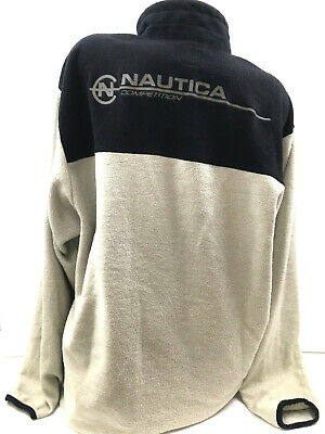 Vtg Nautica Competition Men Pullover Sweatshirt Spell Out Colorblock Made USA XL