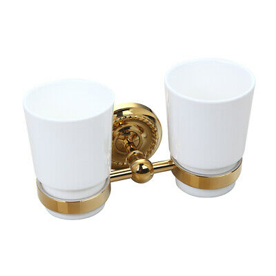Double Ceramic Cups Gold Wall Mount Bathroom Toothbrush Organizer Brass Holder