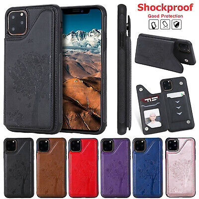 For iPhone 11 Pro Max XS XR 8 Plus 7 6 Case Leather Card Wallet Stand Back Cover