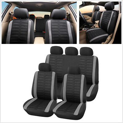 9X Gray Car Seat Covers Full Set Auto Seat Cushions Protector rear bench split