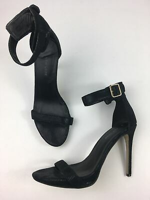 Womens Toe And Buckle Ankle Clear Strap Stiletto Heel In Black Faux Suede UK 3-8