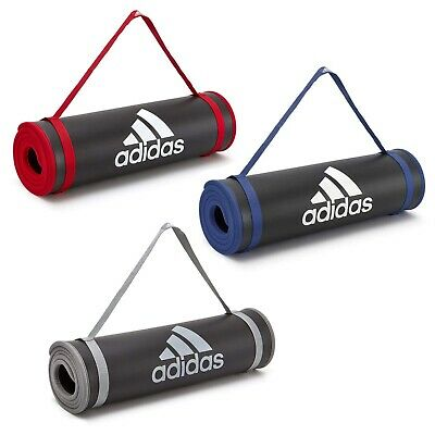 Adidas 10mm Exercise Mat Large Thick Gym Training Fitness Yoga with Carry Strap