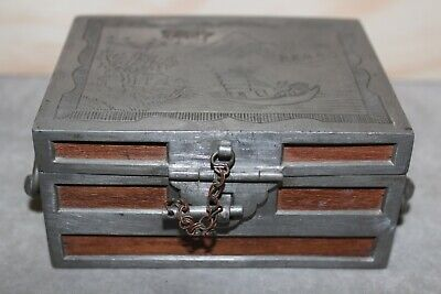 Rare Antique 19th Century Chinese Pewter Swatow Wood Kut Hing Signed Travel  Box