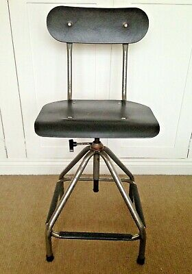 Vintage Factory Machinists Stool Retro Industrial Chair