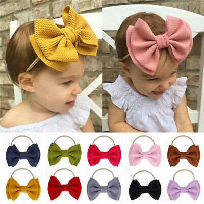 Cute Bow Knot Baby Girls Kids Toddler Hairband Headband Stretch Turban Head Wrap