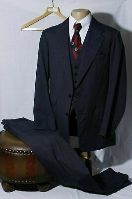 Vtg Anderson & Sheppard Savile Row Men's Navy 3 Piece Side Vent Suit 42R W36