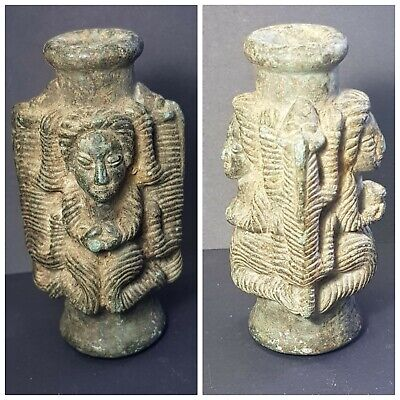 Bactrian fantastic old zoomorphic figures carved chloride stone bottle
