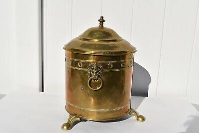 Nice Antique Copper/Brass Coal Bin/Scuttle Lion Face Handles With Cover