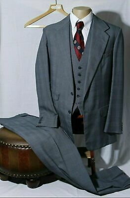 Vtg Anderson & Sheppard Savile Row Men's Steel Gray Plaid 3-Piece Suit 42R W36
