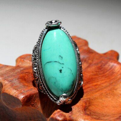 Collection China Handwork Miao Silver Mosaic Turquoise Carve Delicate Chic Ring