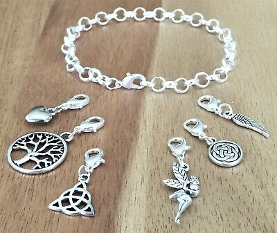 Viking Triquetra Knot Tree Wing Heart Fairy Pagan Medieval Silver Bracelet 20CM